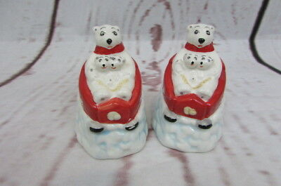 Coca Cola Collectible Salt and Pepper Shakers Polar Bears in Sleigh Ceramic 3''