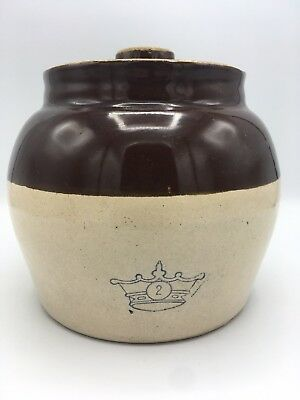 Vintage Blue Crown #2 Ceramic Brown Glaze One Handle Bean Pot Crock Lid USA