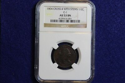 1804 C-1 NGC AU53 BN Half Cent 1/2c Crosslet 4, With Stems