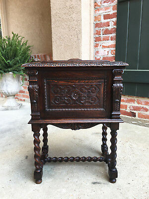 Antique English Carved Oak Bible Box Jewelry Sewing Cabinet Table BARLEY TWIST