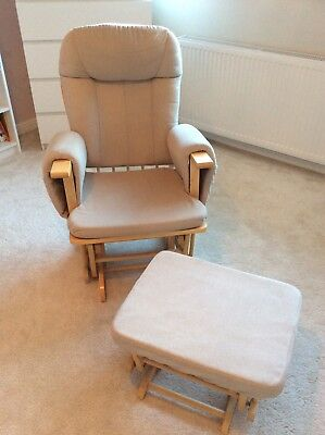 Fab Hauck Wooden Glider Rocking Nursery Chair & Rocking Footstool with Cushions