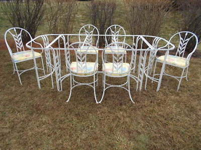"RARE (9)pc.""SALTERINI"" Extended Wrought Iron/Glasstop Dining Set w/(6) Chairs"