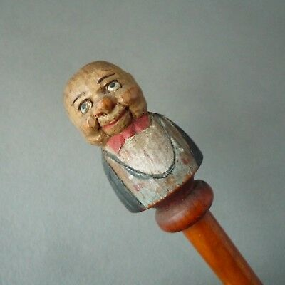 Unusual Vintage/antique Anri Hand Carved Wooden Figural Dip Pen Treen/writing