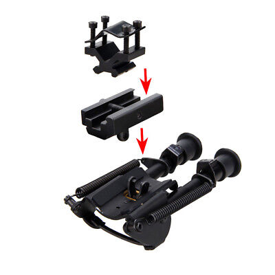 Compact 6-9 inch Spring Return Sniper Hunting Rifle Bipods + Rail Mount/Adapter