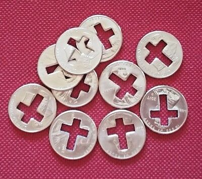 Lot Of 10 Cross Cut Out Lincoln Pennies, Nice Religious Novelty Gifts