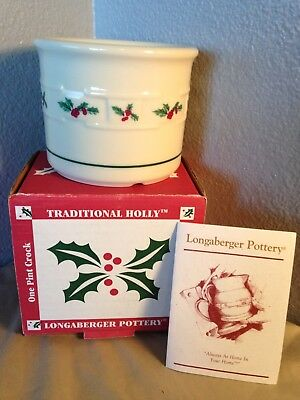 """Discontinued Longaberger Pottery """"Traditional Holly"""" One Pint Crock NIB"""