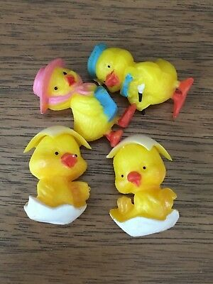 "Vintage Handy Craft-Pak Miniatures Ducks or Chickens Easter 1"" Tall Pack of 4"