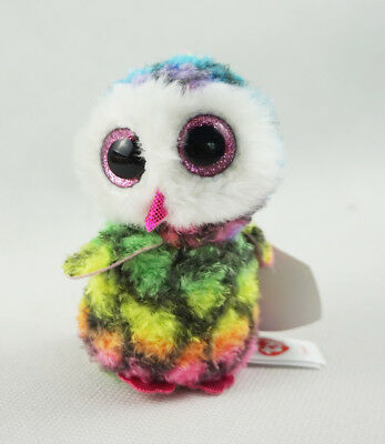 "3.2"" TY Beanie Boos Key Clip Pink Glitter Eyes Owen Owl Animal Plush Stuffed Toy"