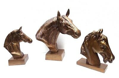 Large Horse Head on Base Set of 3 Metal Figurine Sculpture Christmas New Year