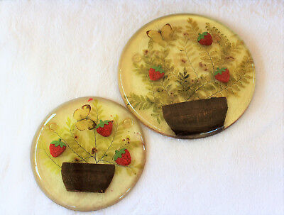 Vintage Pair of Strawberry Butterfly Dried foliage Epoxy Trivet Design Gifts Int