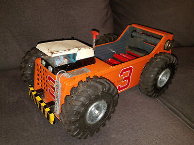 RARE VINTAGE 1960'S PRESSED STEEL SWAMP BUGGY METAL TOY TRUCK MADE IN JAPAN 16in