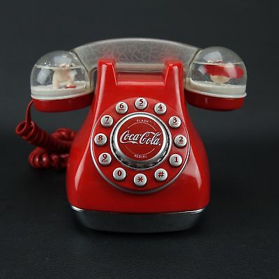 Coca-Cola Collectible Snow Dome Red Telephone Push Button (Circa 2001)