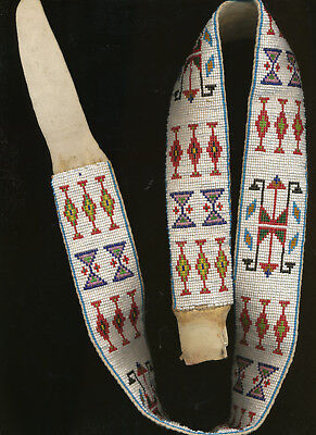 Vintage Sioux Loom-beaded Belt on Brain-Tanned Leather, c. 1940s-50s