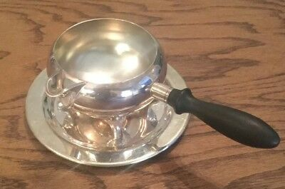 Vintage Silverplated EPCA Bristol Silver Gravey Boat With Plate #48 By Poole