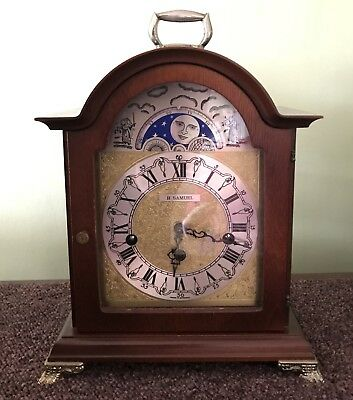 H Samuel Westminster Chime Mantel Clock Working Moonphase Hermle 8 Day Movement