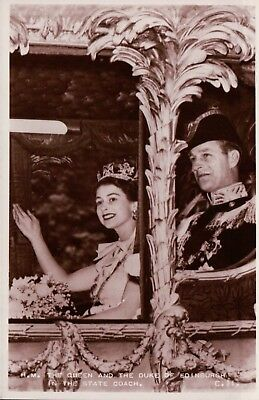 HM The Queen and The Duke of Edinburgh in the State Coach Vintage Postcard