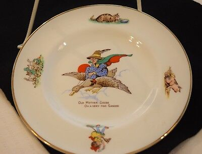 "Nursery Rhyme Old Mother Goose 7""China Plate,Gold Rim,Pig,Kitty,Child,Lamb Decor"