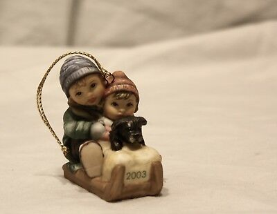 Goebel 2002 Berta Hummel Christmas Ornament Girls with Puppy on Sled Holiday
