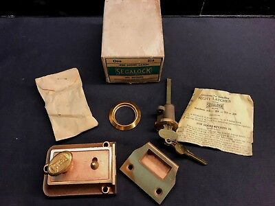 Vintage NOS Segalock All Bronze Rim Night Latch Door Lock Deadbolt