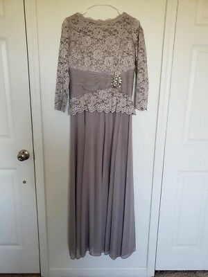 Cachet Silver Mother of the Bride long dress Sz 12 Worn Once
