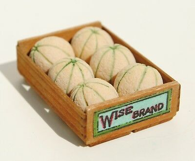 Dollhouse Miniature Artisan Gail Wise Crate Of Melon With Label 1:12