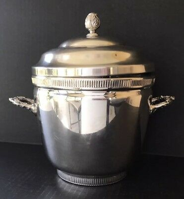 """Vintage Silver Plate Ice Bucket Pyrex Glass Liner 9 1/2"""""""