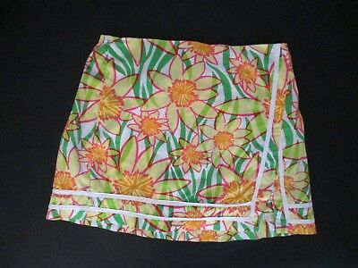 Girls Lilly Pulitzer Green Yellow Floral Prints Skort Skirt  Built In Shorts 16