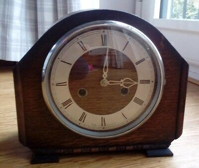 Smiths Art Deco Antique Wooden Case Chime Mantel Clock Rare with Key