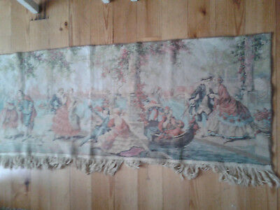 Long vintage tapestry, courting couples. Made in Belgium
