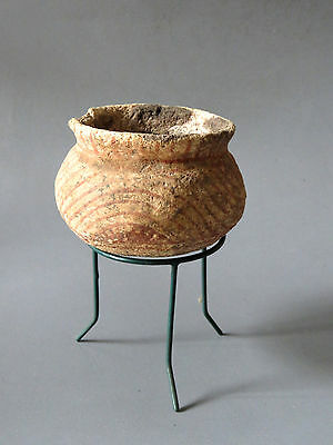 5# Original Ancient Ban Chiang pottery Bowl with Stand From Thailand Cheap LOOK!