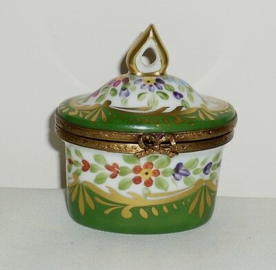Limoges Porcelain Hand Painted Trinket Box with Perfume Bottle