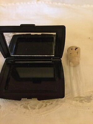 Mirror Compact Set Plus Clear Glass Snuff Vial Clear Cork Top Vintage / New