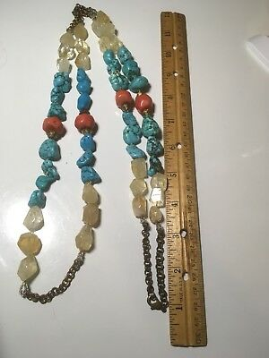 Large Old Natural Red Coral Turquoise Rock Crystal Necklace