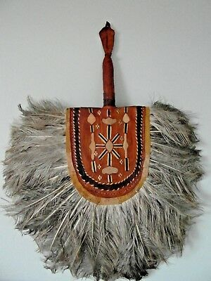 Spectacular Aztec/mayan/inca Tribal Fan! Leather And Feather Display Feature!