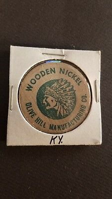Vintage Wooden Nickel Olive Hill Kentucky 1961 Indian Head       o