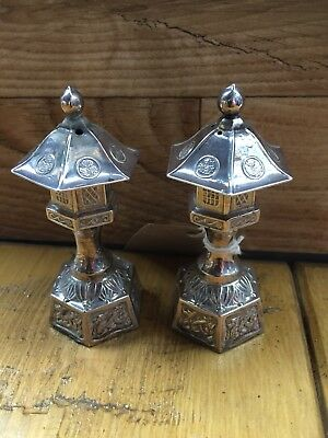 Antique / Vintage Japanese Sterling Pagoda Silver Salt & Pepper Pots