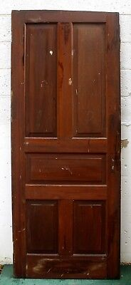 "32""x79"" Antique Vintage Victorian SOLID Wood Wooden Interior Door 5 Raised Panel"
