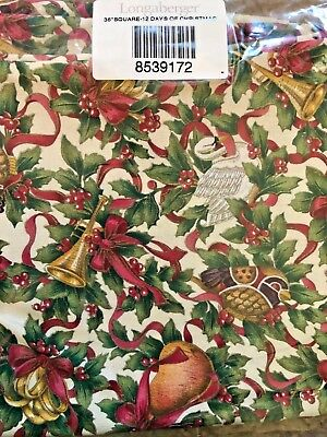 """Longaberger 36"""" Fabric Square 12 Days of Christmas Table Cloth 8539172 New"""