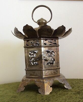 Rare large antique brass Japanese temple/shrine lantern