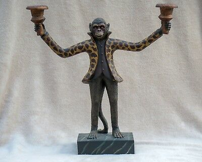 Monkey statue double candle holder