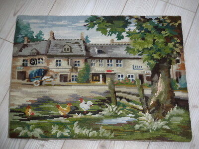 Tapestry French Country Cottage Farm Chicken Hand Embroidered Horse Frame Panel