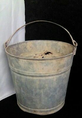 Vintage Metal Galvanized Bucket Antique Primitive Rustic Country Farmhouse