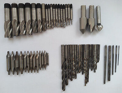 Selection of Engineers Cutters, Drill Bits and Center Drills 63Pcs