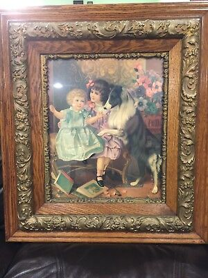 Beautiful, Large,  Antique, Victorian Ornate Gesso And Double Oak Picture Frame