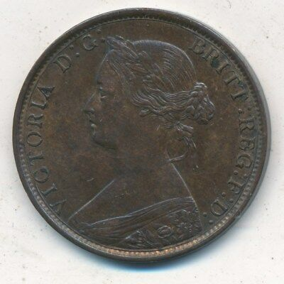 1862 Great Britain 1/2 Penny Half Penny-Gently Circulated Coin-Nice! Ships Free!