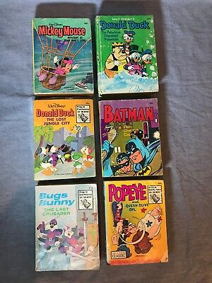 Lot - 6 Whitman Big Little Books - Batman - Disney - Donald Duck - Mickey Mouse