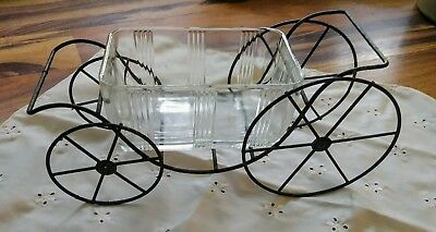 Vtg/Antique Unique Clear Glass Butter/Candy Dish on Brass/Metal Cart w/ Wheels!