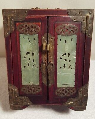 VTG Oriental Chinese Wood Jewelry Box with Brass & Ornate carved Jade with