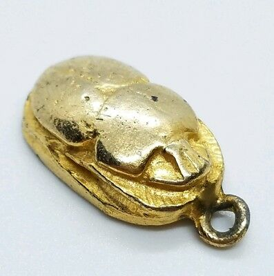 Lovely Vintage Gold Tone Molded Scarab Beetle Egyptian Revival Necklace Pendant