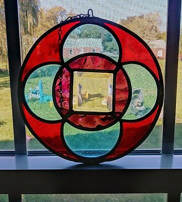 Vintage Leaded Stained Glass Window Round with Beveled Center Arts and Crafts